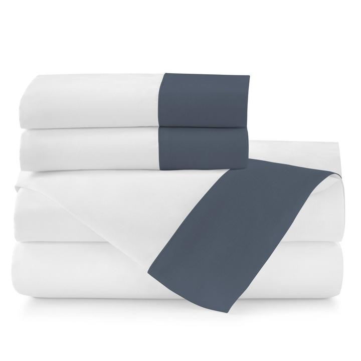 PEACOCK ALLEY MANDALAY LINEN CUFF SHEET SET  NAVY