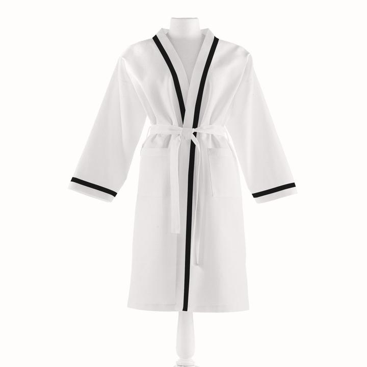PEACOCK ALLEY PIQUE BATHROBE  BLACK