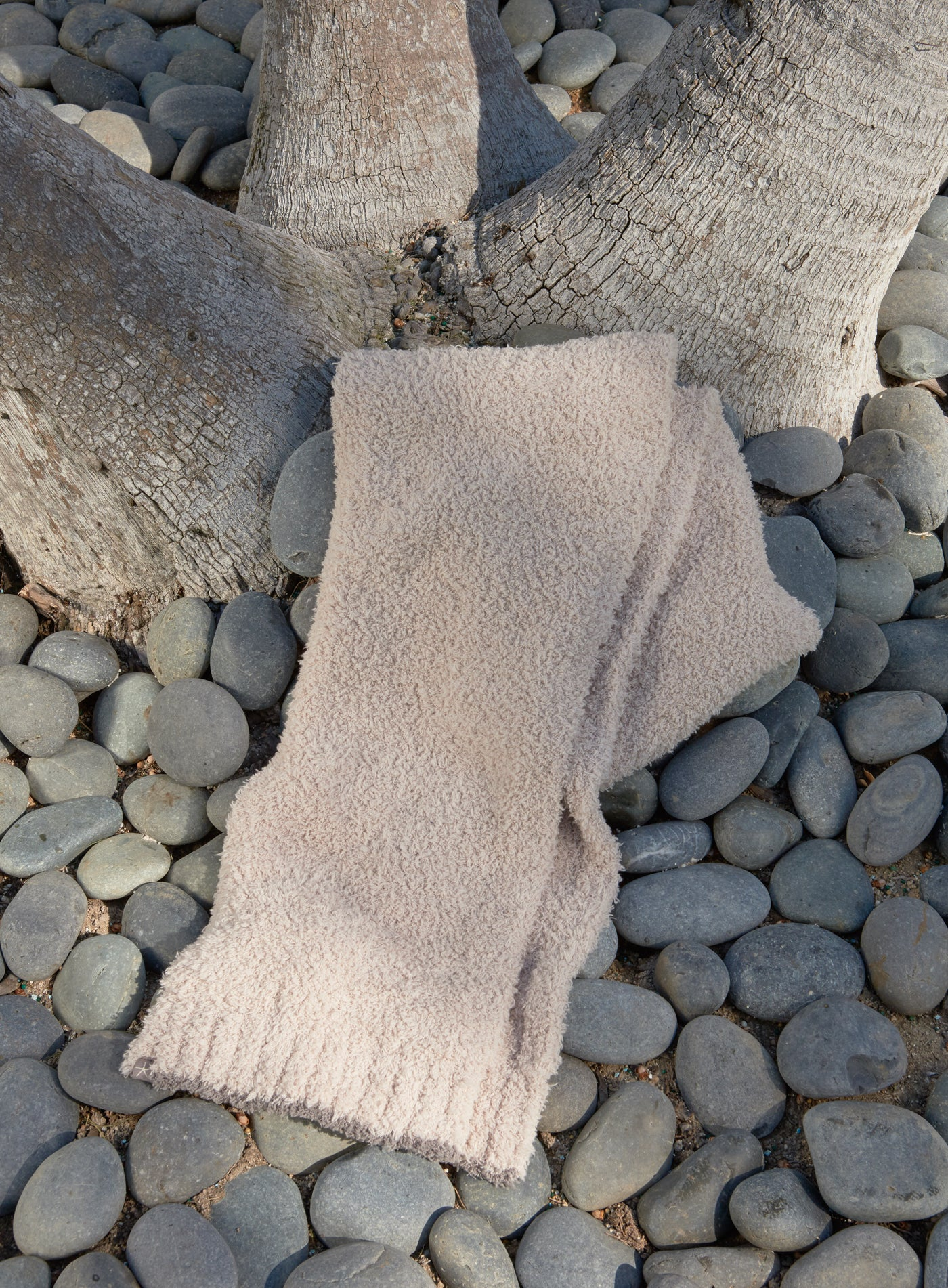 BAREFOOT DREAMS - COZYCHIC SCARF WITH CONTRAST TIP IN STONE-CHARCOAL