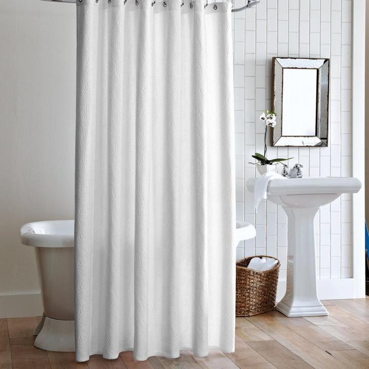 PEACOCK ALLEY MATELASSE SHOWER CURTAIN  WHITE