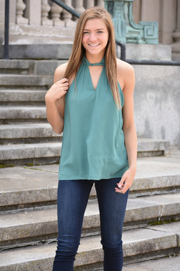 Vanessa High Neck Halter Blouse
