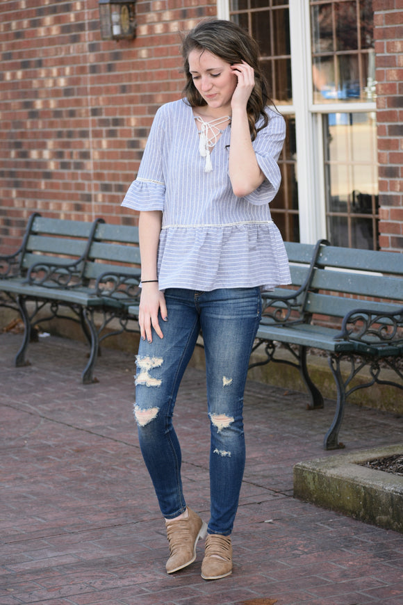 Clementine Striped Top