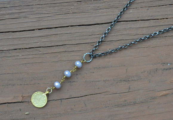 Handmade Antique Silver Chain with Czech Beads Y Necklace - urbanity online
