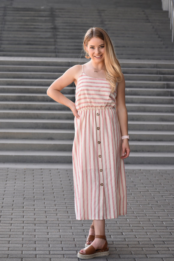 Sundance Coral Stripe Midi Dress