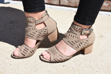 Abby Laser Cut Low Heels