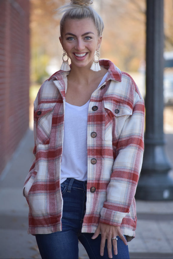 Amelia Plaid Faux Fur Jacket