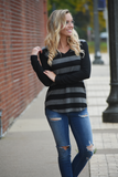 Andrews Hacci Brushed Wide Striped Top