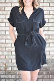 Aurora Black Tie Waist Dress