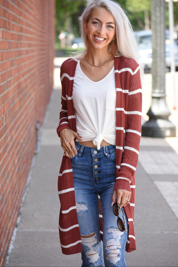 Autumn Ridge Ribbed Lightweight Striped Cardigan