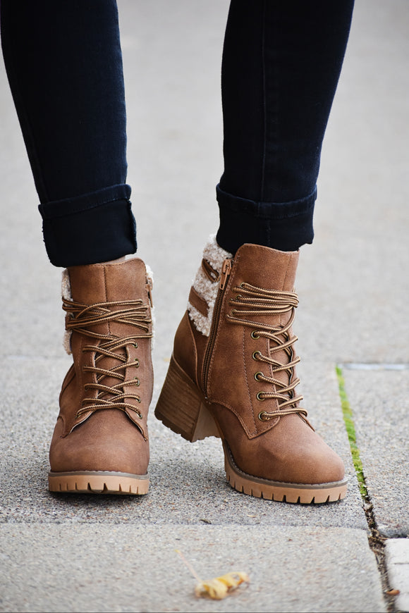 Olivia Fur Lace Up Heeled Boots