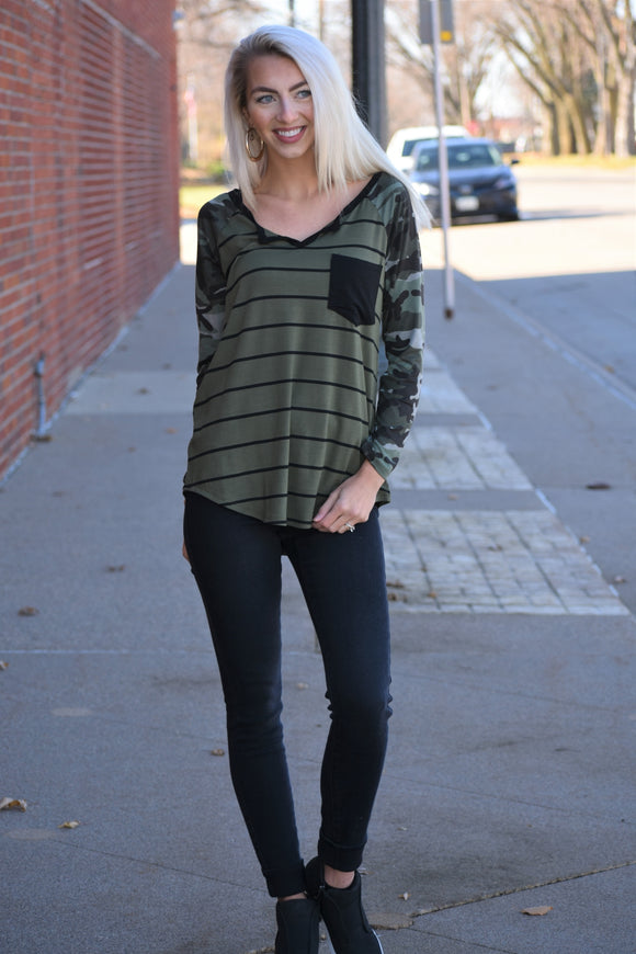 Camo Sleeved Striped Body Top