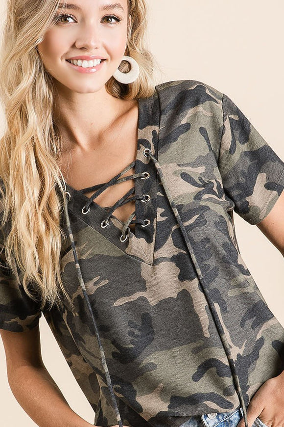 Blair Camo Lace Up Top