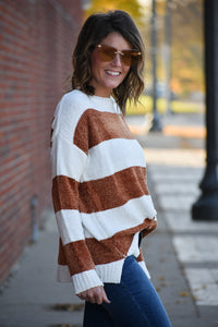 Caramel Popcorn Striped Chenille Sweater