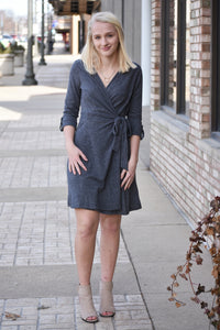 Carmen Grey Wrap Front Dress