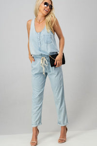 Chambray Drawstring Jumpsuit
