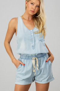 Chambray Drawstring Romper