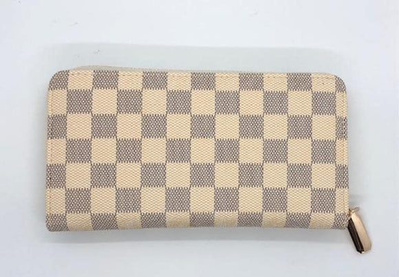 Checked Zipper Wallet