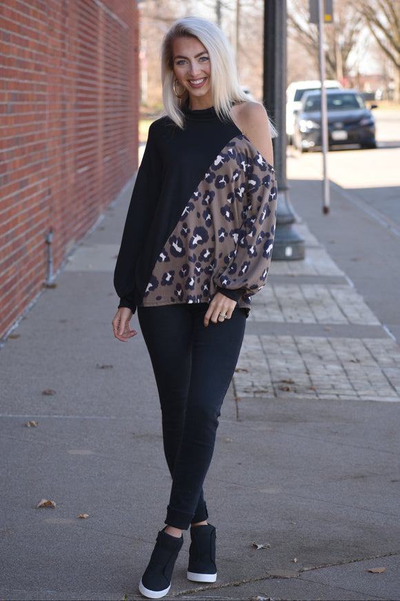Cold Shoulder Leopard Contrast Top
