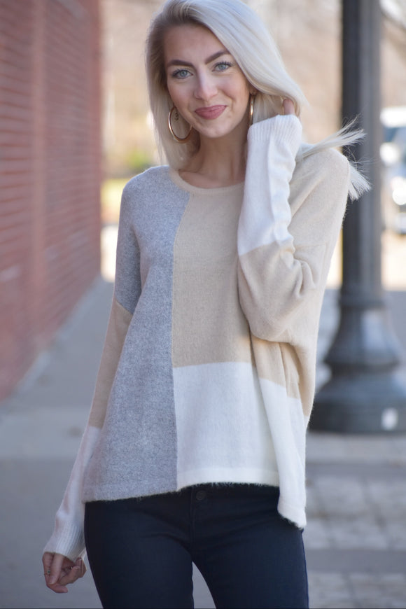 Color Block Bulky Sweater Top