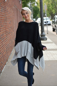 Color Block Poncho Sweater