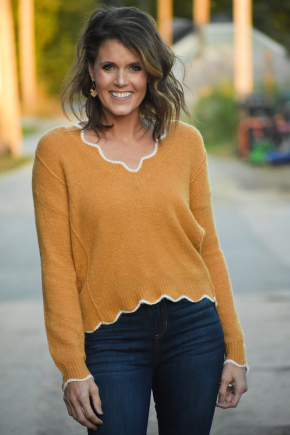 Cynthia Scalloped Edge Sweater