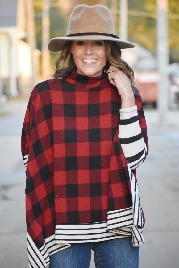 Knoxville Plaid Poncho Top