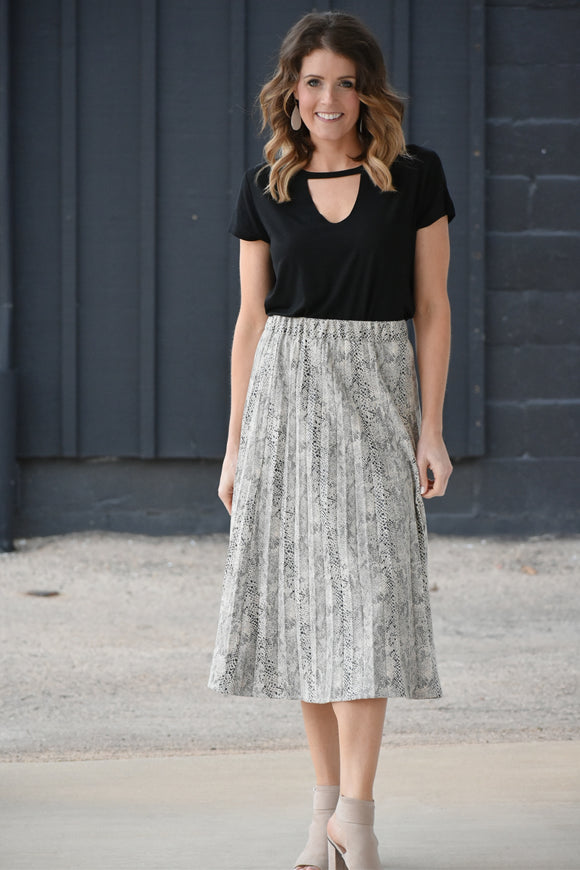 Kylie Pleated Faux Suede Snake Print Skirt