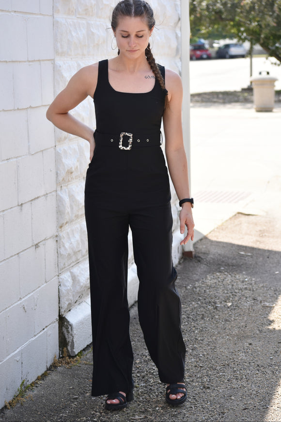 Gillian Belted Black Jumpsuit