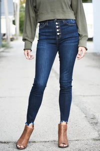 Dark Night Super High Rise Button Jeans