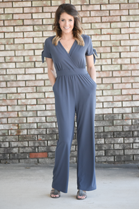 Evening Shadow Surplice Jumpsuit
