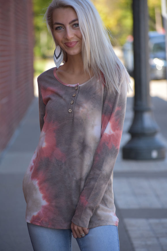 Fall Tie Dye Henley Top
