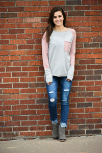 Felicia Striped Color Block Sweater
