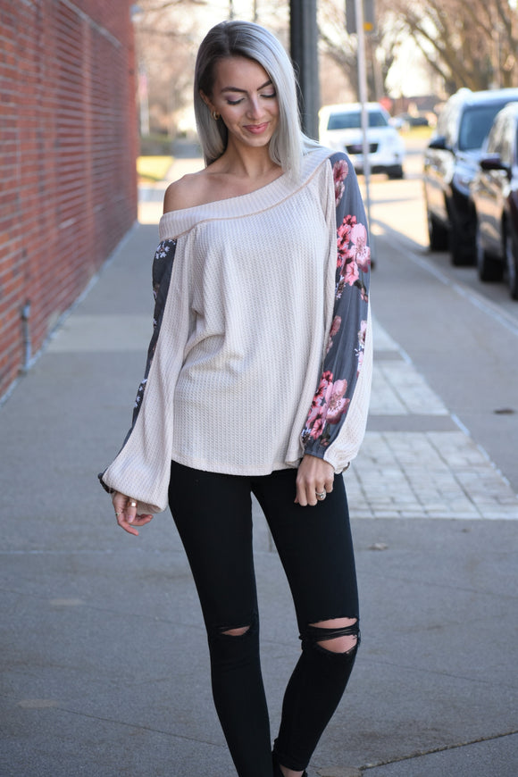 Floral Off The Shoulder Thermal Top