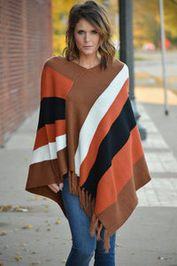 Florence Striped Poncho Sweater