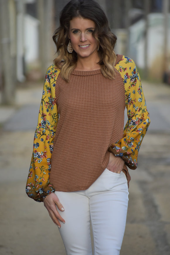 Flower Fields Waffle Knit Top