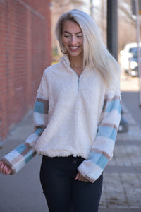 Fuzzy Plaid Contrast Pullover