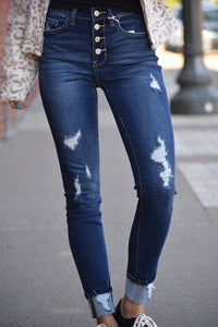 Gina High Rise Distressed Skinny Jeans
