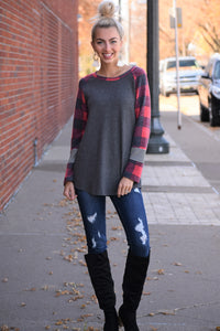 Holidays Buffalo Plaid Sleeve Top
