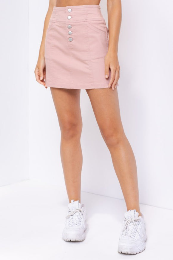 Holly High Waisted Buttoned Skirt