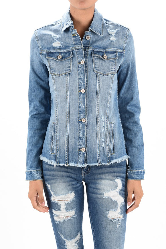 Raw Hem Distressed Denim Jacket