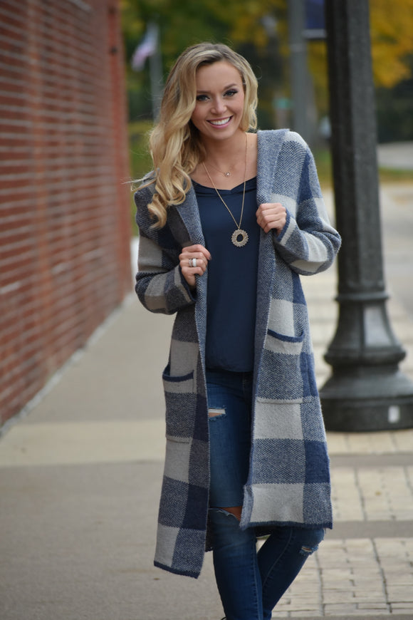Khloe Checker Pocket Hooded Cardigan