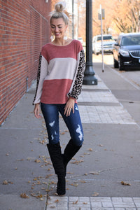 Leopard Accent Sleeve Sweater