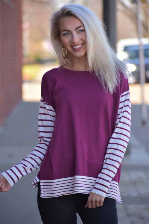Long Sleeved Crew Neck Striped Sweater