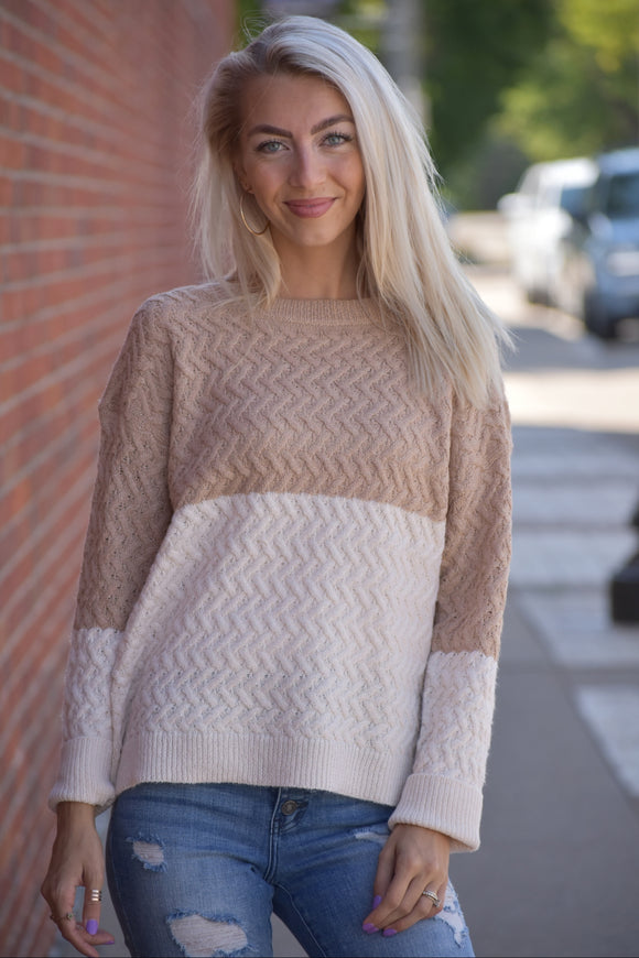 Macchiato Cable Knit Sweater