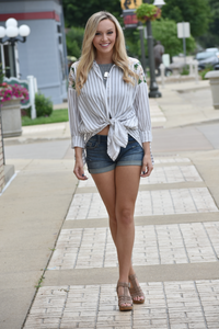 Memphis Striped Button-Down Top