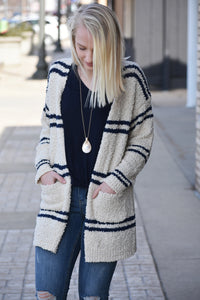 Minnie Striped Popcorn Cardigan