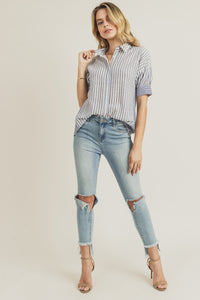 Lynn Mixed Stripe Button Down Shirt