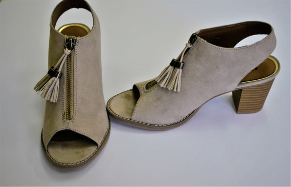 Molly  Suede Zipper Front Peek Toe Bootie