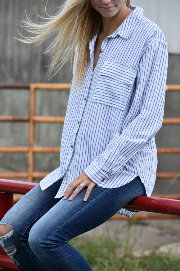Nantucket Striped Button Up