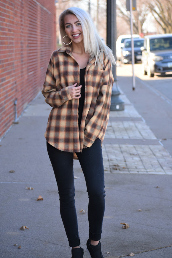 Oversized Button-Up With Patch Pocket